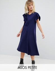 Asos Petite T Shirt Dress With Frill Detail Navy