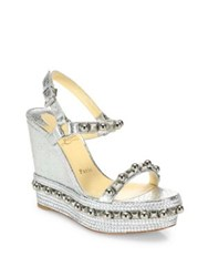Christian Louboutin Cataconico 120 Metallic Python Print Leather Wedge Platform Slingbacks Silver