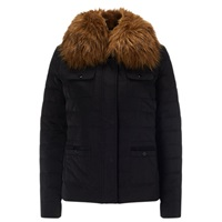 Phase Eight Jolie Faux Fur Trim Jacket Black
