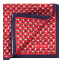 Thomas Pink Heart And Flower Print Silk Pocket Square Navy Red
