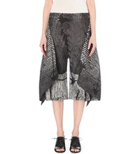 Issey Miyake Fern Print Wide Leg Pleated Trousers Gray Hued