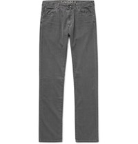 Canali Slim Fit Washed Cotton Blend Denim Jeans Gray