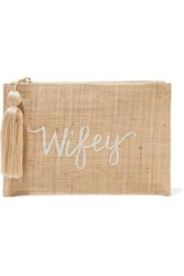 Kayu Wifey Embroidered Woven Straw Pouch Sand