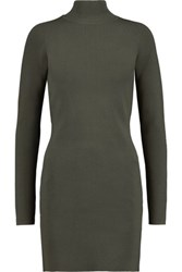 Dion Lee Stretch Knit Turtleneck Mini Dress Army Green