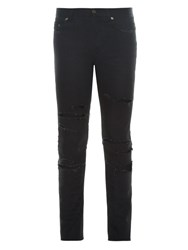 Saint Laurent Distressed Low Rise Skinny Jeans