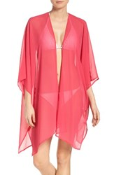 Halogenr Women's Halogen Chiffon Cover Up Kimono Pink Bright