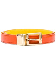 Dolce And Gabbana Square Buckle Belt Women Calf Leather 85 Yellow Orange