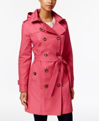 London Fog Hooded Double Breasted Trench Coat Cerise