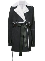 Unravel Project Shearling Double Trench Coat Black