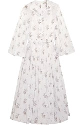 Emilia Wickstead Anel Floral Print Cotton Voile Midi Dress White