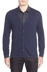 Men's Zachary Prell 'Blackfriars' Wool Blend Stripe Cardigan Navy