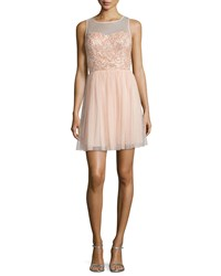 Aidan Mattox Beaded Party Dress Blush