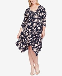 Jessica Simpson Trendy Plus Size Kaelin Handkerchief Hem Dress Navy Blazer. Floral Fling