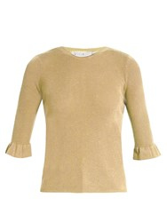 Red Valentino Ruffled Cuff Ribbed Knit Sweater Gold