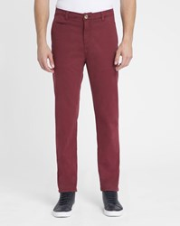 M.Studio Burgundy Noa Ii Fitted Cotton Chinos