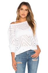 Twenty Twist Perforated Long Sleeve Top White