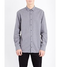 Tommy Hilfiger New York Fit Striped Cotton Shirt Silver