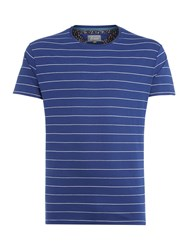 Linea Bosier Engineered Stripe Crew Neck T Shirt Cobalt