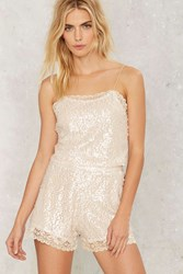 Motel Lola Sequin Shorts Ivory
