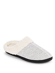 Isotoner Faux Fur Trimmed Roundtoe Slippers Charcoal