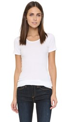 Splendid 1X1 Short Sleeve Crew Neck Tee White