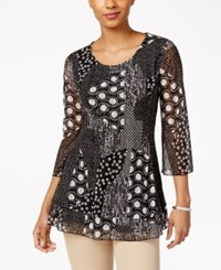Jm Collection Patchwork Print Top Only At Macy's Black Patchwork