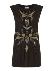 Label Lab Beaded Tribal Sleeveless Top Charcoal