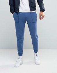 Abercrombie And Fitch Cuffed Joggers Moose Logo Embroidery In Blue Blue