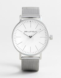 Bellfield Mesh Strap Watch In Silver With White Face