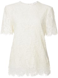 Victoria Beckham Lace Shortsleeved Blouse White