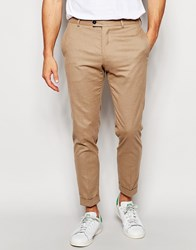 River Island Smart Trousers In Skinny Cropped Fit In Camel