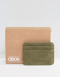 Asos Card Holder In Khaki Faux Leather Khaki Green