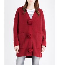 Moandco. Pom Pom Detailed Wool Cardigan Rumba Red