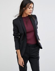 Selected Foxy Lux Wool Blend Fitted Blazer Black