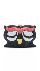 Serpui Marie Embroidered Owl Clutch