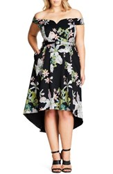 City Chic Plus Size Women's Spring Belted High Low Off The Shoulder Dress
