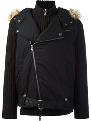 Balmain Pierre Layered Hooded Cardigan Black