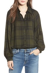 Angie Fem Flannel Shirt Green Plaid
