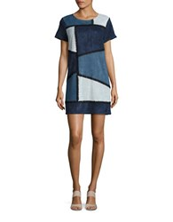 Design Lab Lord And Taylor Patchwork Faux Suede Shift Dress Black Blue