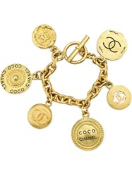Chanel Vintage Coin Charm Bracelet Yellow And Orange