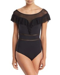 Jets By Jessika Allen Fanciful Off The Shoulder One Piece Swimsuit With Mesh Black