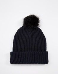 Asos Beanie In Navy With Faux Fur Bobble