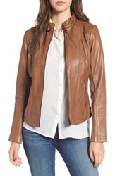 Bernardo Women's Zip Front Leather Biker Jacket New Cognac