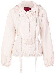 Moncler Gamme Rouge Belted Hooded Jacket Pink And Purple