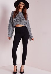 Missguided Tall High Waisted Side Zip Skinny Jeans Black