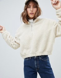 Weekday Borg High Neck Zip Sweatshirt Beige