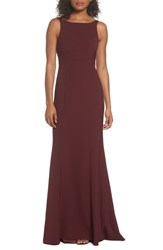 Amsale 'S Joelle Low Back Crepe Gown Ruby
