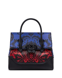 Versace Vitello Stampa Floral Barocco Top Handle Satchel Bag Black Pattern