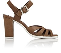 Barneys New York Women's Leather Ankle Strap Sandals Dark Brown