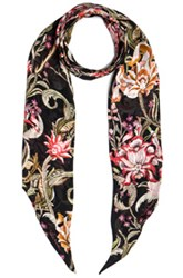 Roberto Cavalli Printed Light Satin Scarf In Black Floral Black Floral